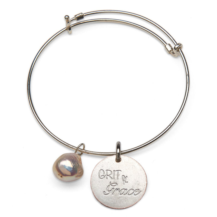 Mariamor Grit & Grace, Freshwater Pearl Adjustable Bangle, Sterling Silver