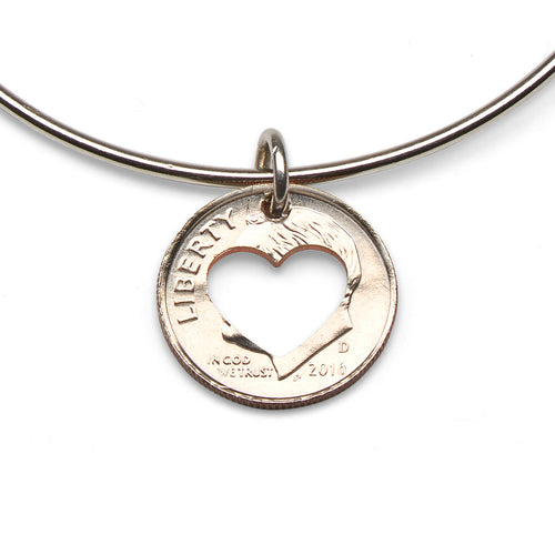 Coin heart adjustable sterling bangle