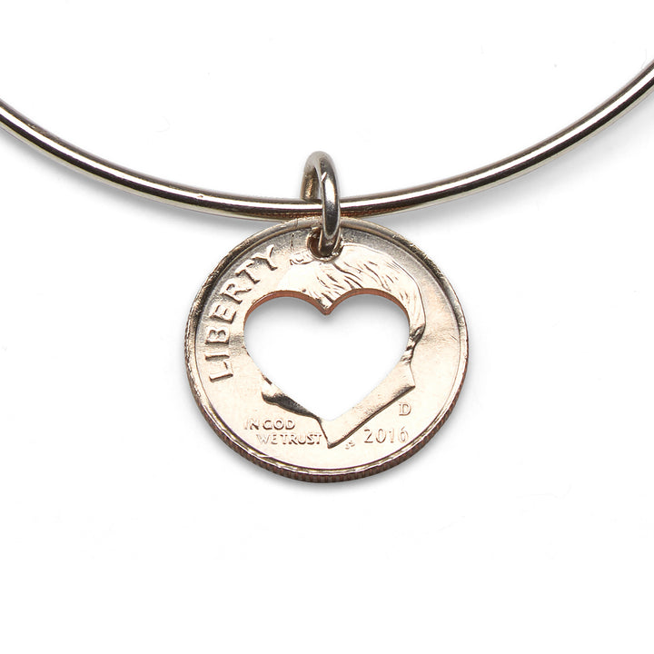 Mariamor Coin Heart Cutout Adjustable Bangle, Sterling Silver