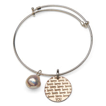 Love You and pearl on adjustable sterling bangle