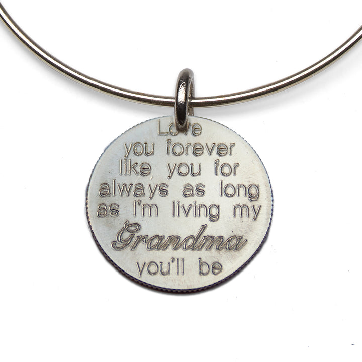 Mariamor Love You Forever Grandma Quarter Adjustable Bangle, Sterling Silver