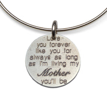 Love You Forever- Mom adjustable sterling bangle
