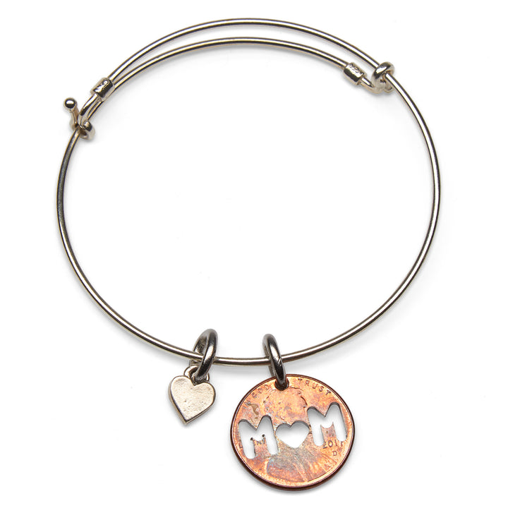 Mariamor MOM Coin Cutout and Heart Adjustable Bangle, Sterling Silver