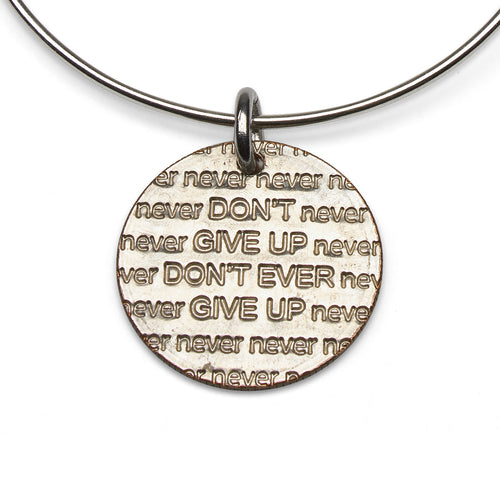 Don't Give Up adjustable sterling bangle