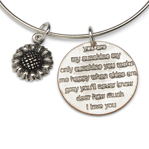 You Are My Sunshine and sunflower adjustable sterling bangle