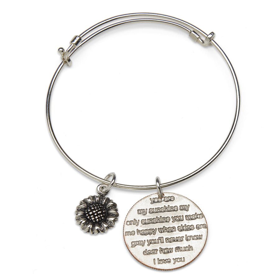 Mariamor You Are My Sunshine And Sunflower Quarter Adjustable Bangle, Sterling Silver