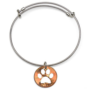 Mariamor Paw Print Coin Adjustable Bangle, Sterling Silver