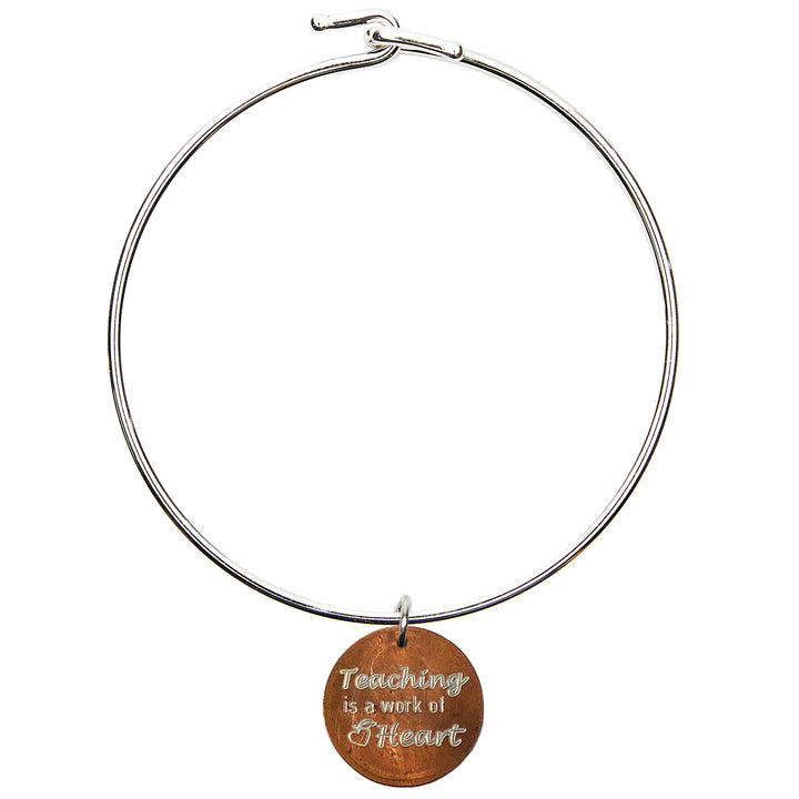 Mariamor Teaching is a Work of Heart Bangle, Sterling Silver
