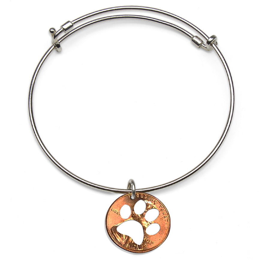 Mariamor Clemson Tiger Coin Cutout Adjustable Bangle, Sterling Silver
