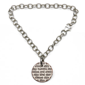 Mariamor Humble and Kind Coin Charm Bracelet, Sterling Silver