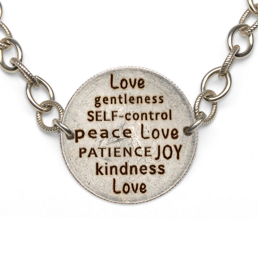 Mariamor Kindness Love Joy Patience Quarter Bracelet, Sterling Silver