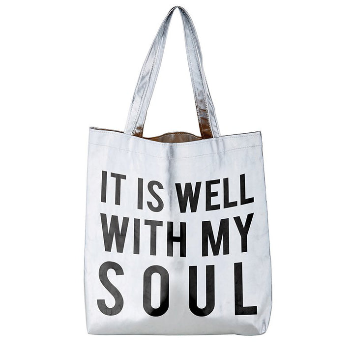 It Is Well With My Soul Silver Metallic Tote