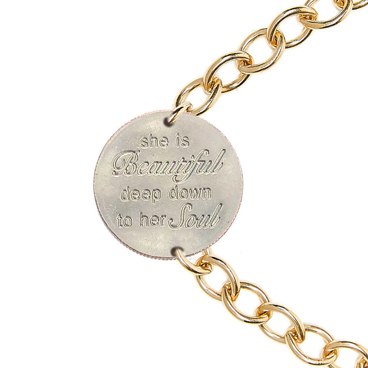 Mariamor She Is Beautiful Quarter Bracelet, Gold