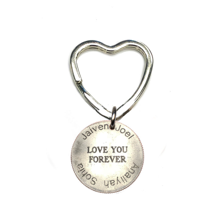 Mariamor Love You Forever Custom Kids' Names Quarter Heart Keychain