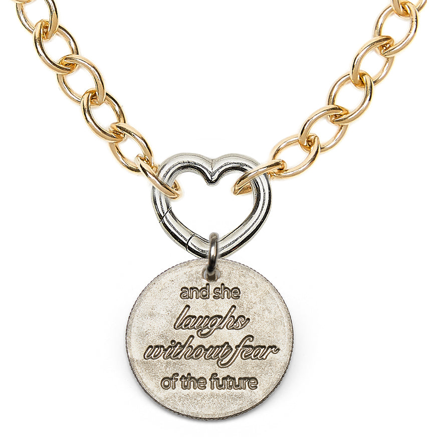 Mariamor Customizable Heart Charm Holder Statement Necklace, Gold