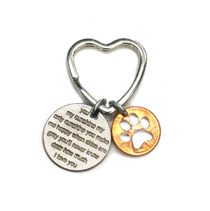 Mariamor Paw Print and You Are My Sunshine Quarter Heart Keychain