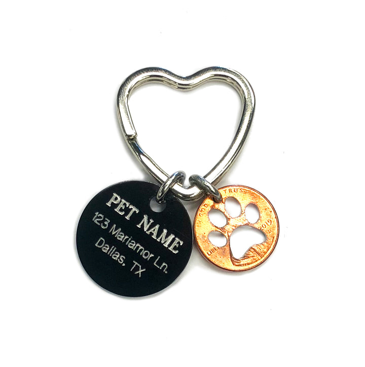 Mariamor Paw Print Pet Tag Heart Keychain
