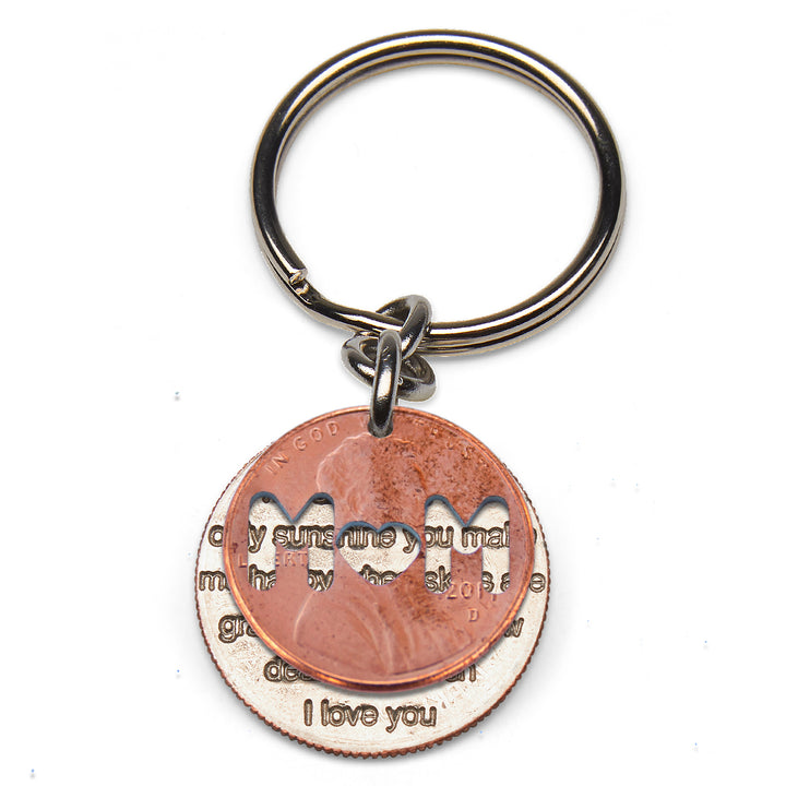 Mariamor You Are My Sunshine Quarter and Mom Penny Keychain