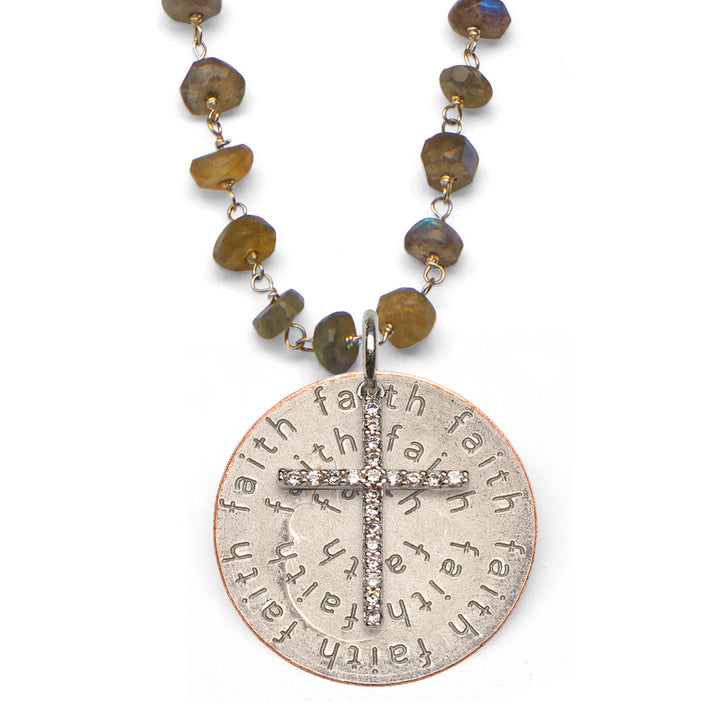 Mariamor Faith Quarter, CZ Cross Necklace, Labradorite
