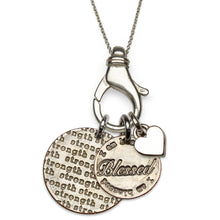 I am Strong and Blessed sterling silver charm holder necklace