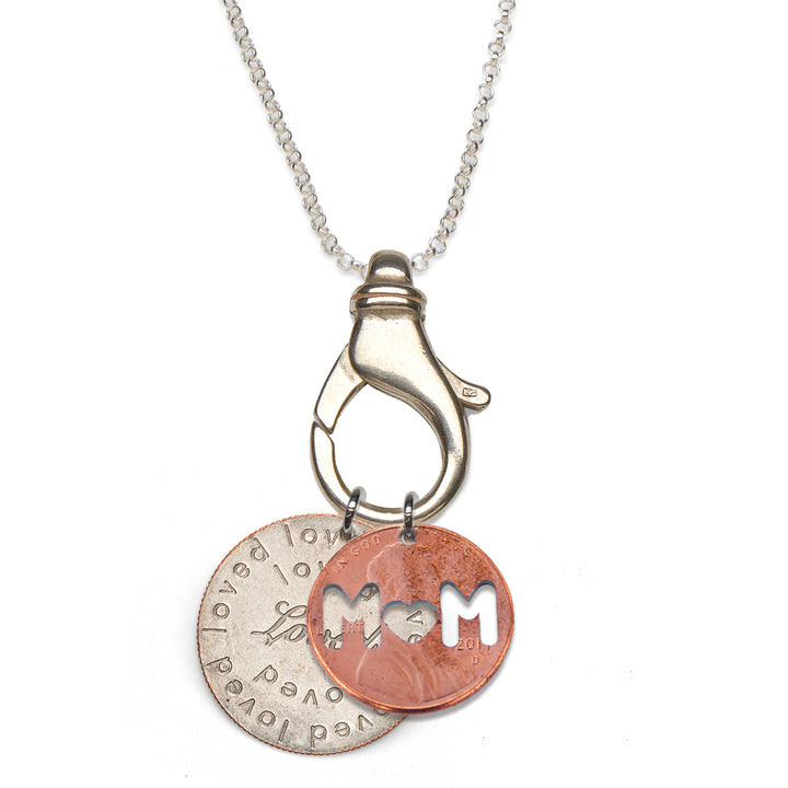 Mariamor Loved Quarter, Mom Penny Charm Holder Necklace, Sterling Silver