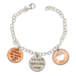 "NEW Mariamor ""Yes, I Can"" Charm Bracelet, Sterling Silver"