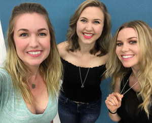 Comedians Kelsey Cook, Taylor Tomlinson, and Delanie Fischer of the wildly funny self-helpless podcast rock Mariamor BALANCE necklaces!