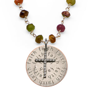 Mariamor Faith Quarter, CZ Cross Necklace, Watermelon Tourmaline