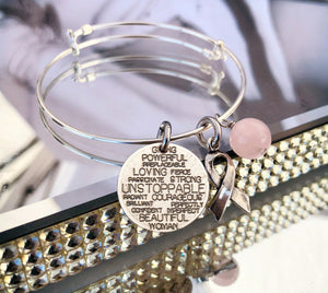 Mariamor Customizable Coin and Awareness Ribbon Adjustable Bangle, Sterling Silver