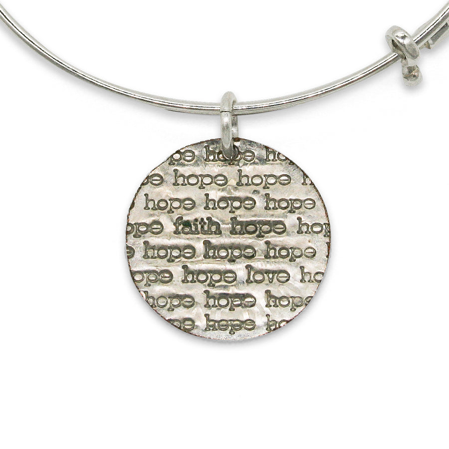 Mariamor Faith Hope Love Adjustable Bangle, Sterling Silver