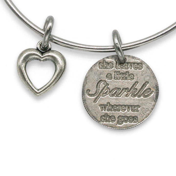 Mariamor Leave a Little Sparkle Coin, Heart Charm Adjustable Bangle, Sterling Silver