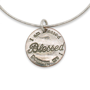 Blessed adjustable sterling bangle