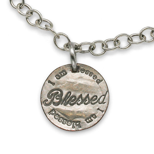 Blessed sterling silver charm bracelet with cross