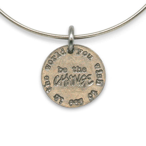 Be The Change adjustable sterling bangle