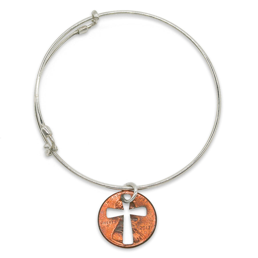 Mariamor Coin Cross Cutout Adjustable Bangle, Sterling Silver