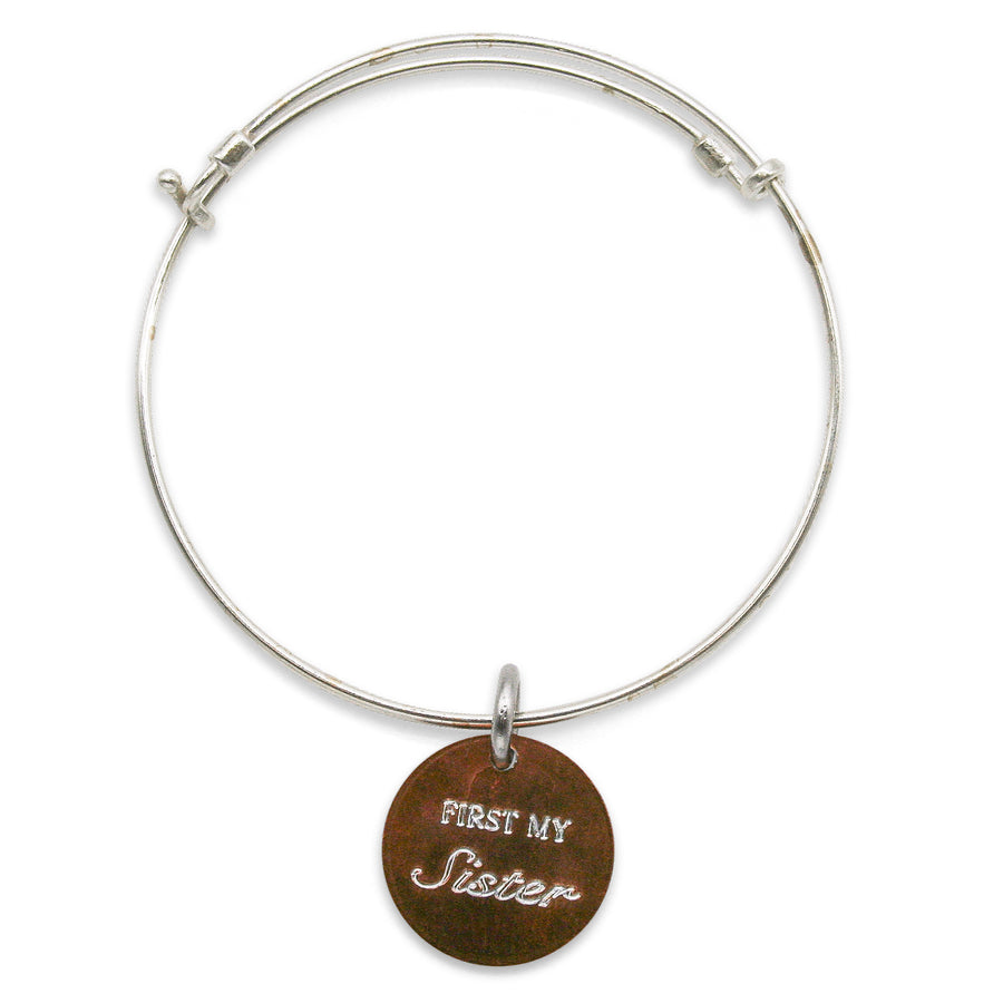 Mariamor First My Sister/Mother/Daughter Forever My Friend Adjustable Bangle, Sterling Silver