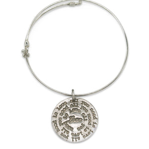 Mariamor All You Need Is Love Quarter Adjustable Bangle, Sterling Silver