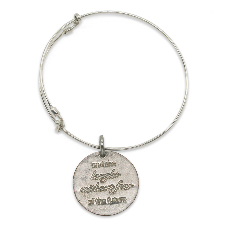 She Laughs Without Fear adjustable sterling bangle