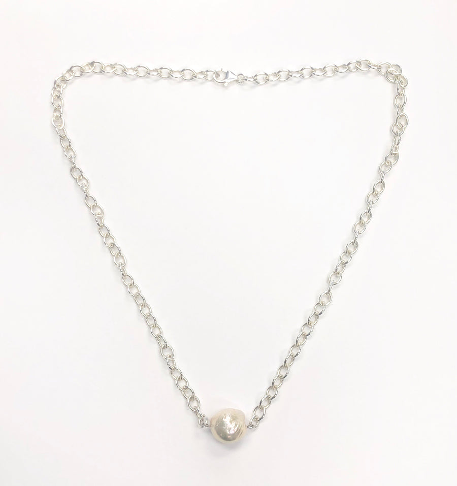 Mariamor Freshwater Pearl Statement Necklace, Sterling Silver