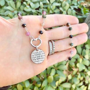 Mariamor Humble and Kind, Heart Charmholder Necklace, Watermelon Tourmaline