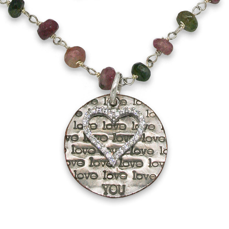 Mariamor Love You, CZ Heart Triple Wrap Necklace, Watermelon Tourmaline