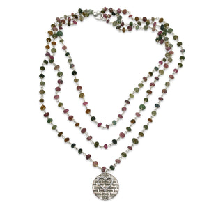 Love You and CZ heart triple wrap tourmaline necklace