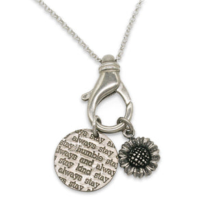 Mariamor Customizable Coin and Sunflower Charm Holder Necklace, Sterling Silver