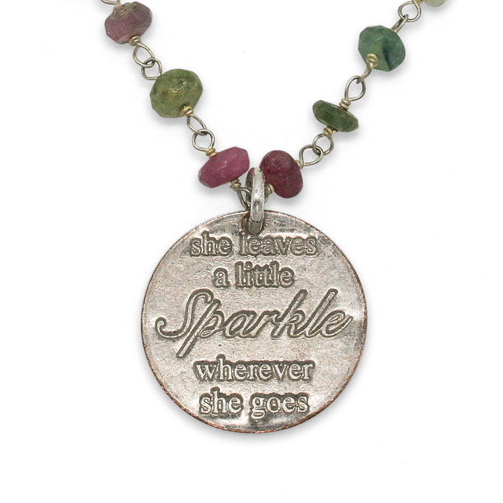 Mariamor Leave a Little Sparkle Necklace, Watermelon Tourmaline