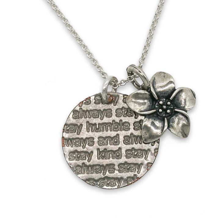 Mariamor Humble and Kind Coin, Plumeria Charm Necklace, Sterling Silver