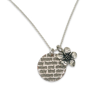Humble and Kind plumeria sterling necklace