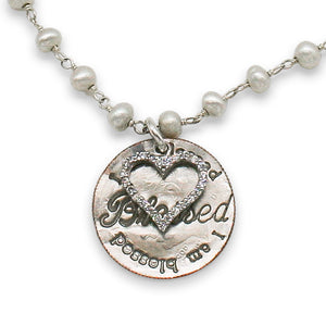 Blessed dime pearl necklace with CZ heart