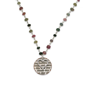 Mariamor Humble and Kind, CZ Heart Necklace, Watermelon Tourmaline