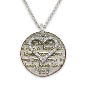 Love You silver necklace with CZ heart