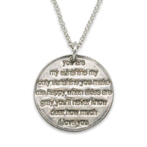 Mariamor You Are My Sunshine Quarter Necklace, Sterling Silver